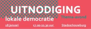 Thema-avond lokale democratie 18 januari – Met Lucas de Man