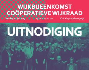 Wijkbijeenkomst Oosterparkwijk op 11 juli 2017